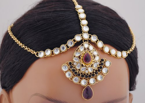 goldpolish purple and white kundan set-1856