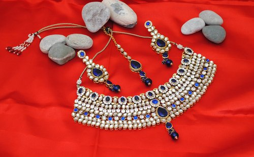 Goldpolish blue and white kundan set-1896