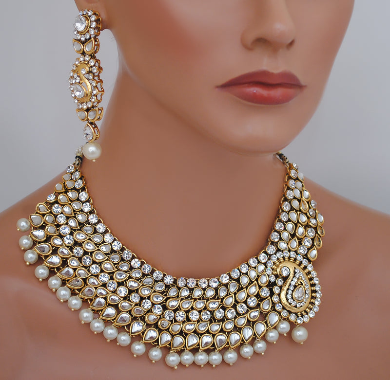 Goldpolish white kundan set-1932