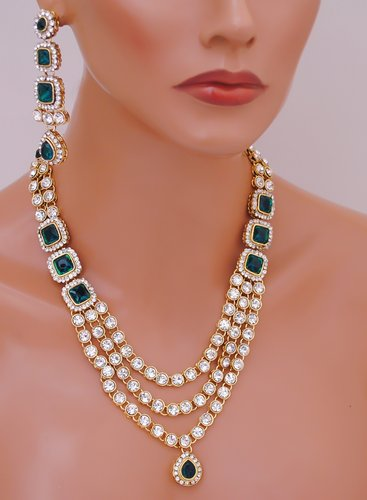 Goldpolish green and white kundan set-2037