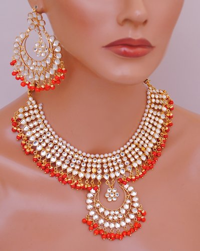 Goldpolish red and white kundan set-2067