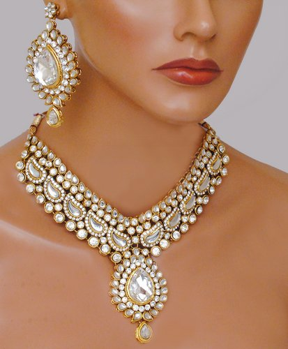 Goldpolish white kundan set-2080