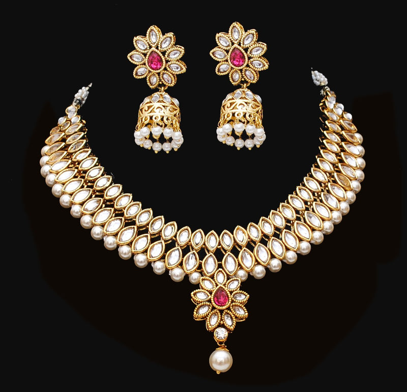 Goldpolish red and white kundan set-2116