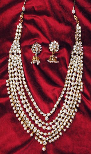 Goldpolish white kundan set-2161