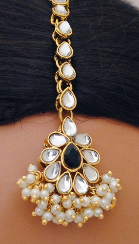 Goldpolish black and white kundan set-2230