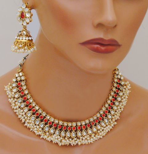 Goldpolish red and white kundan set-2231