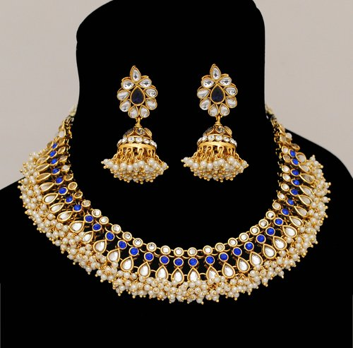 Goldpolish blue and white kundan set-2234