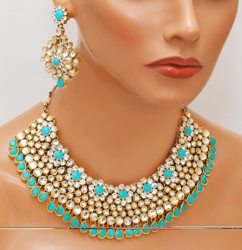 Goldpolish aqua blue and white kundan set-2258