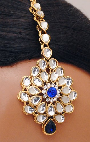 Goldpolish blue and white kundan set-2260