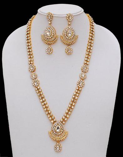 Goldpolish white kundan set-2281