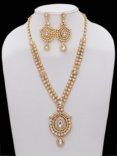 Goldpolish white kundan set-2284