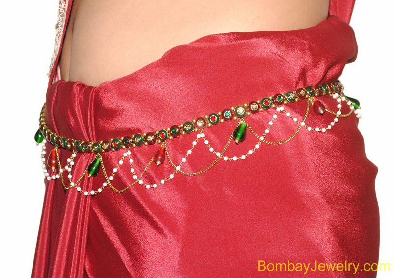 goldplated red and green belly belt