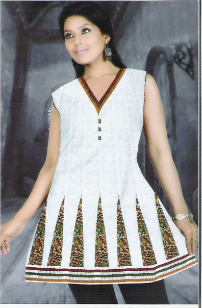 beautiful cream printed cotton kurti