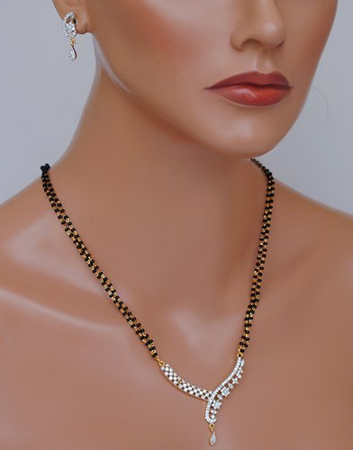 Goldpolish black and white mangalsutra-2144 12""