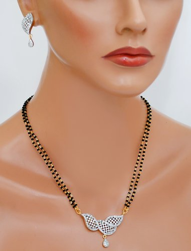 Goldpolish black and white mangalsutra-2152 12""