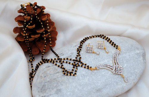 Goldpolish black and white mangalsutra-2154