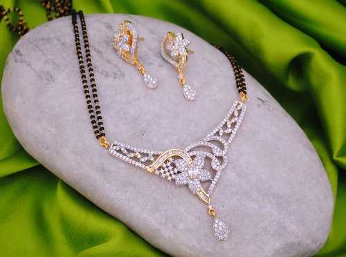 Goldpolish black and white mangalsutra-2164