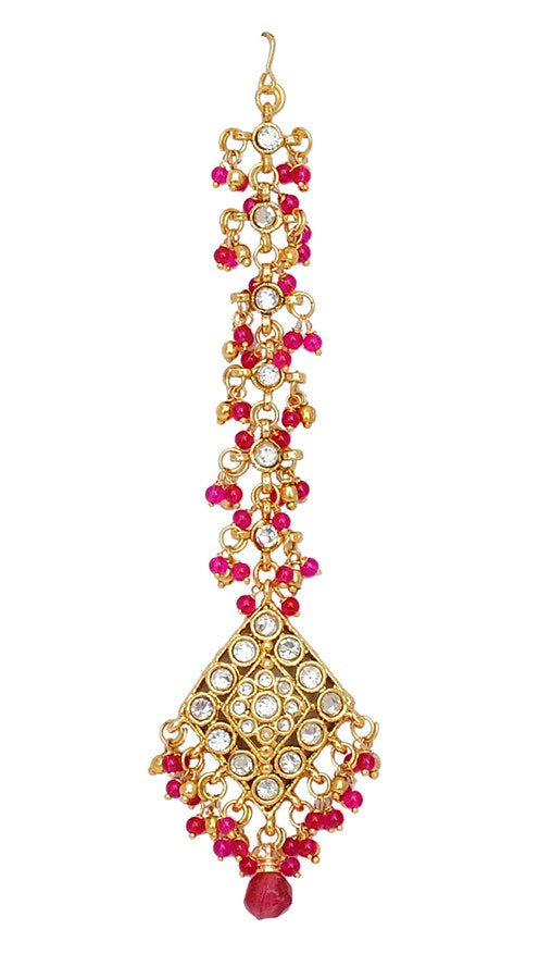 goldplated fusicha pink and white matha tikka