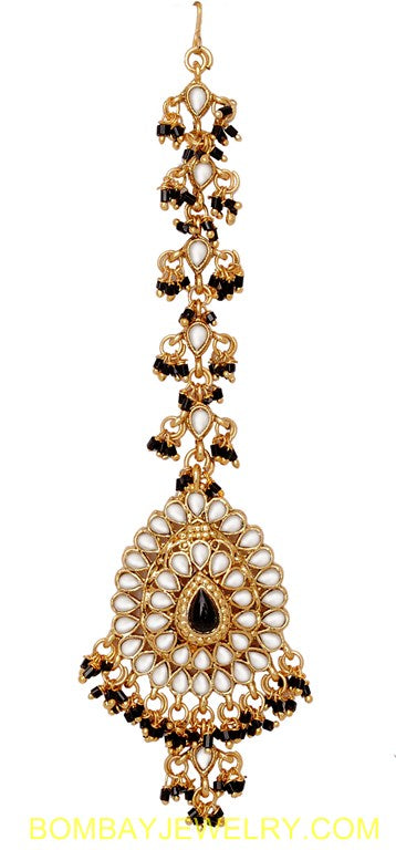 goldplated black and white kundan matha tikka