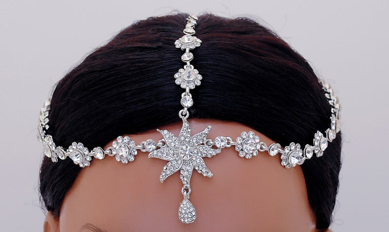 Silverpolish white diamond head piece tikka-124