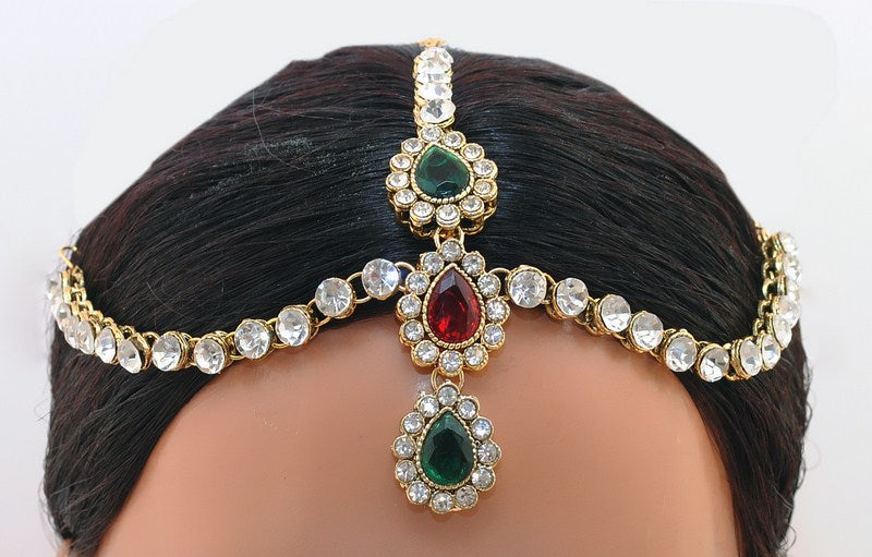 Goldpolish maroon, green and white kundan head piece tikka-1191