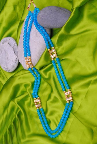 Goldpolish aqua blue pearl and white kundan chain-1017