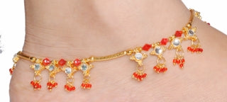 Golden kundan Anklets With Red Beads