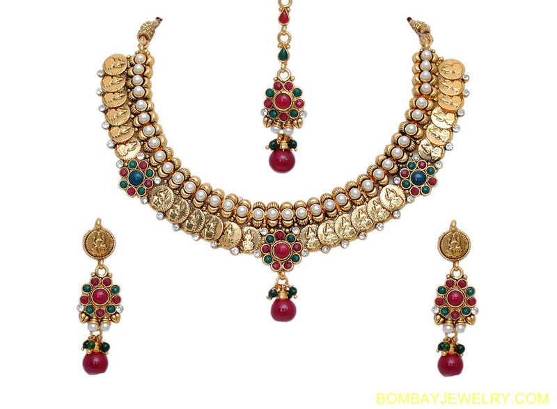 goldplated marron, green and white polki set