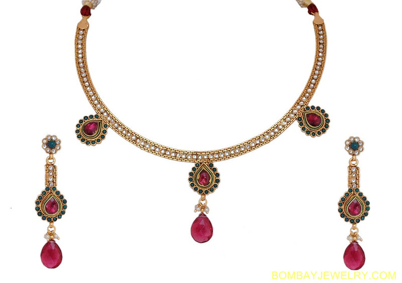 goldplated ruby pink and white polki set