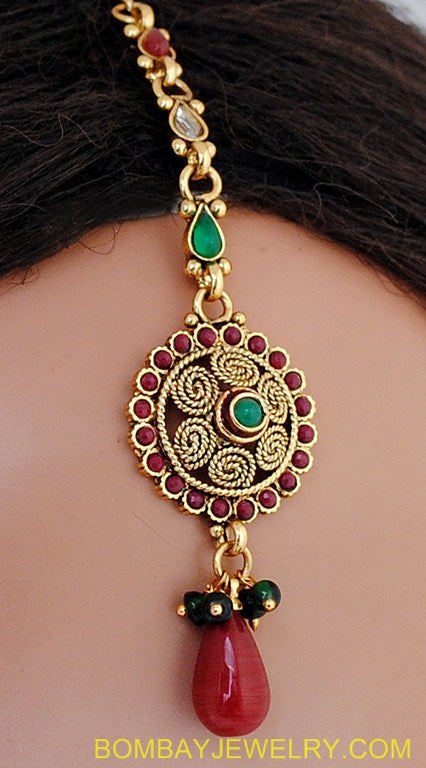goldplated maroon, green and white polki set