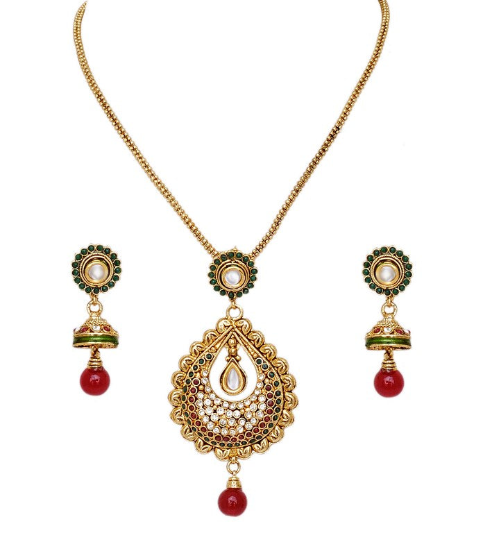 Beautiful maroon, green and white polki pendent set