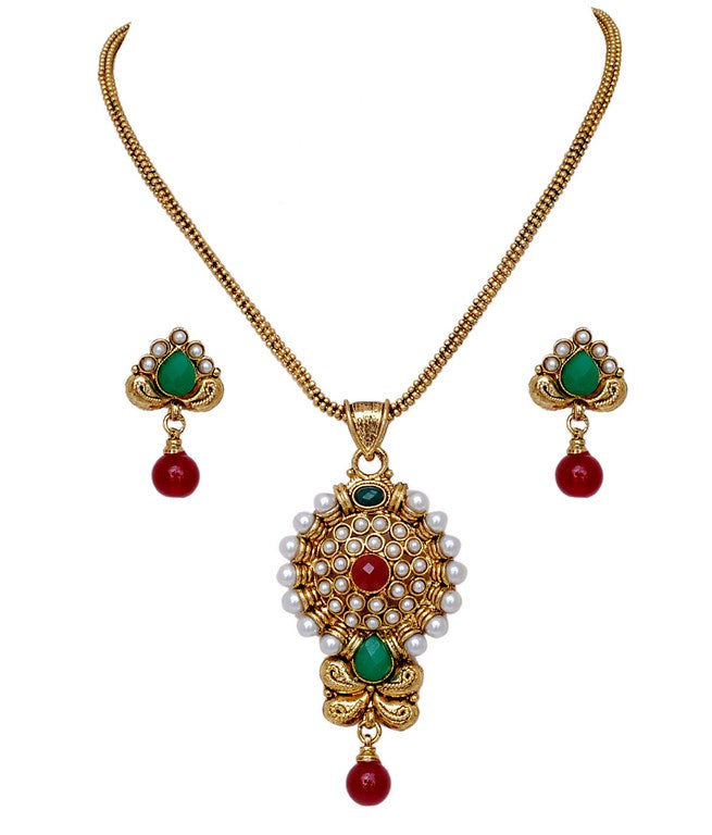 Beautiful maroon , green and white polki pendent set