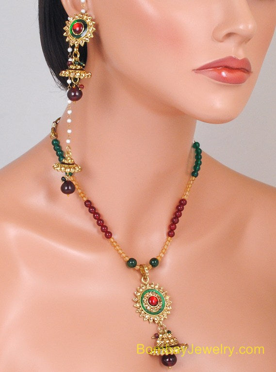GOLDPLATED MAROON, GREEN AND WHITE PEARL KASHMIRI SET