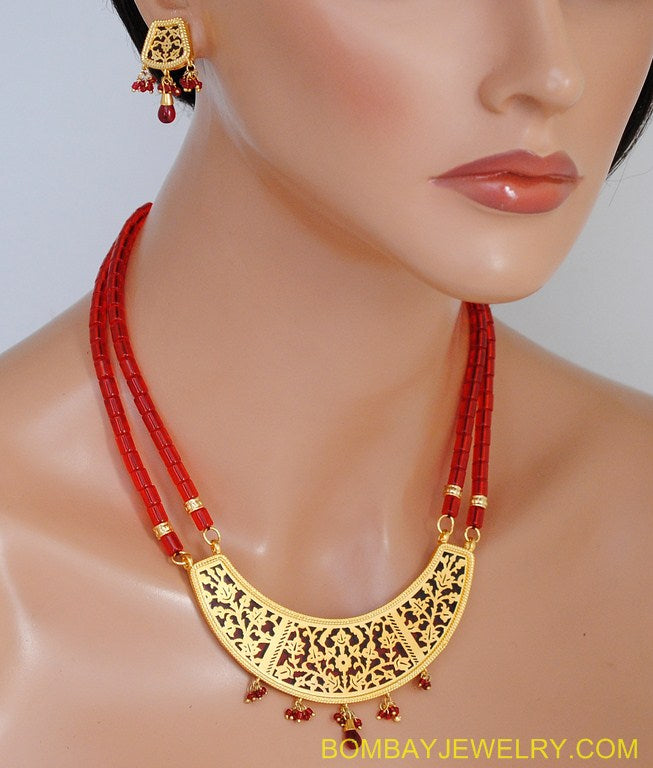 goldplated red beautiful pearl s set