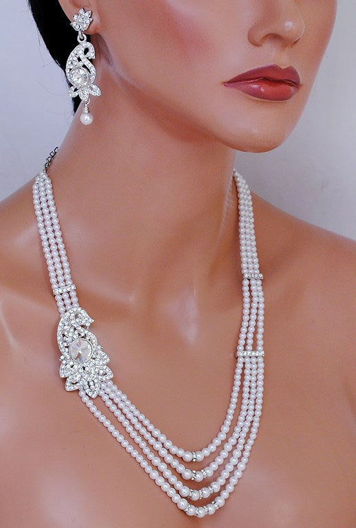 silverplated white diamond and pearl set