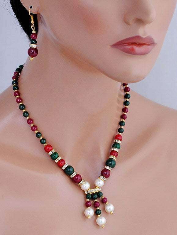 goldplated maroon, green pearl set