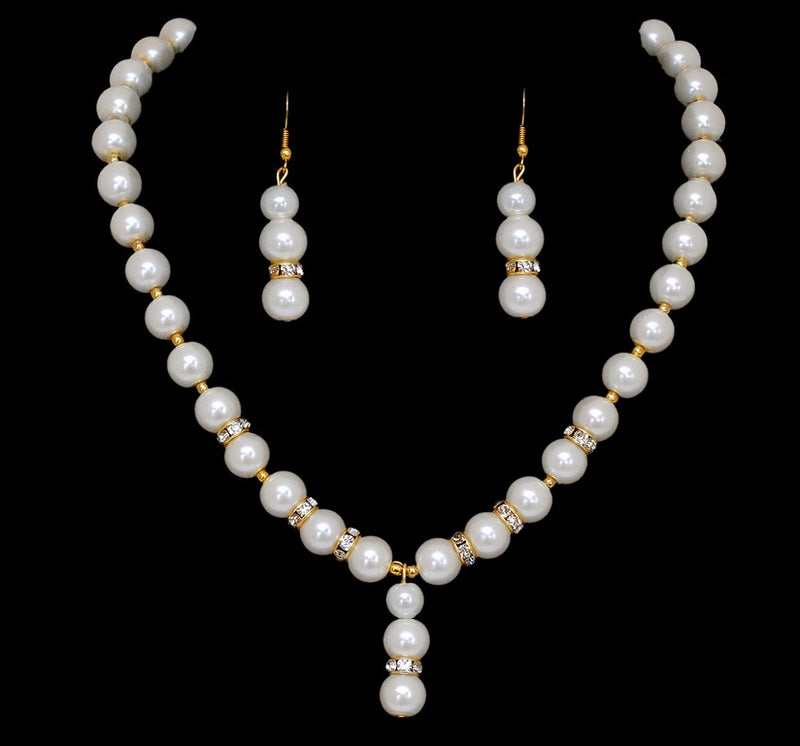 goldplated white pearl pendent set