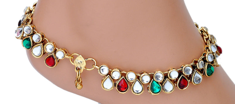 Goldpolish maroon, green and white kundan anklet-97