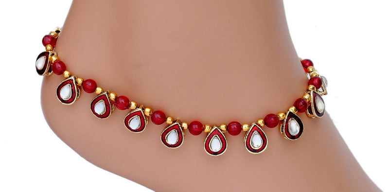 Goldpolish deep red and white anklet-101