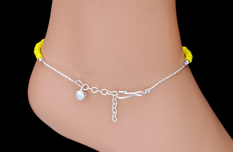 Silverpolish yellow beads anklet-113
