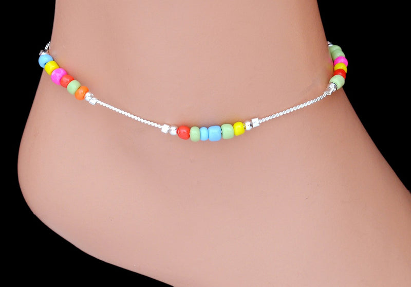 Silverpolish multicolour beads anklet-114