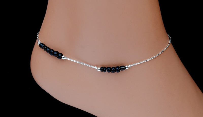 Silverpolish black beads anklet-115