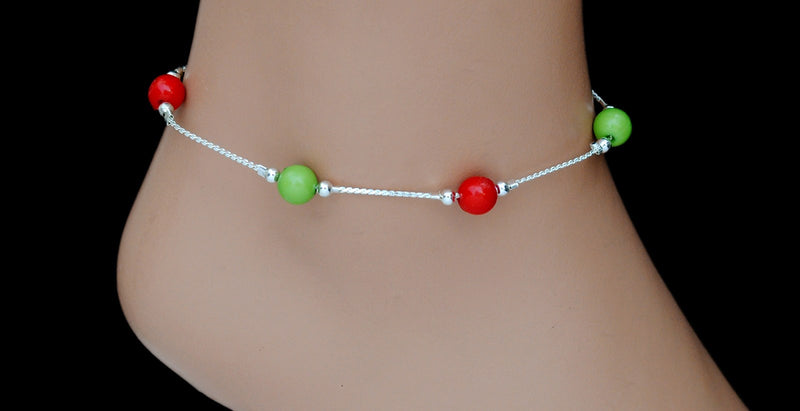 Silverpolish red , green anklet-126