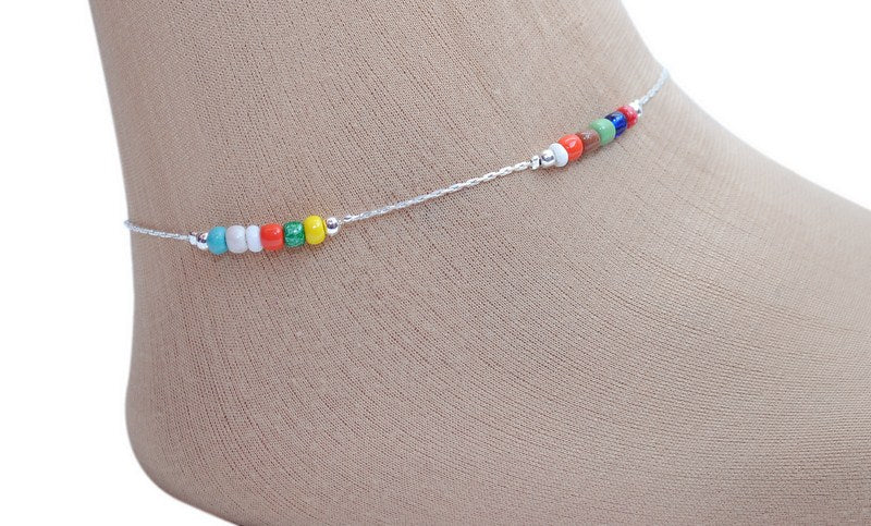 Multicolour beads anklet