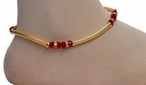 golden and deep red anklet-1189