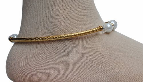 Golden and white anklet-1196
