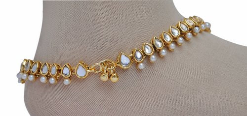 Golden and white anklet-1203
