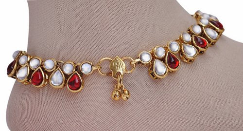 Deep red and white kundan anklet-1205