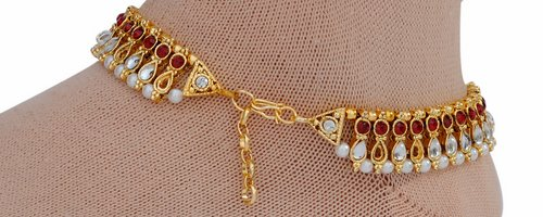 Maroon and golden anklet-1213