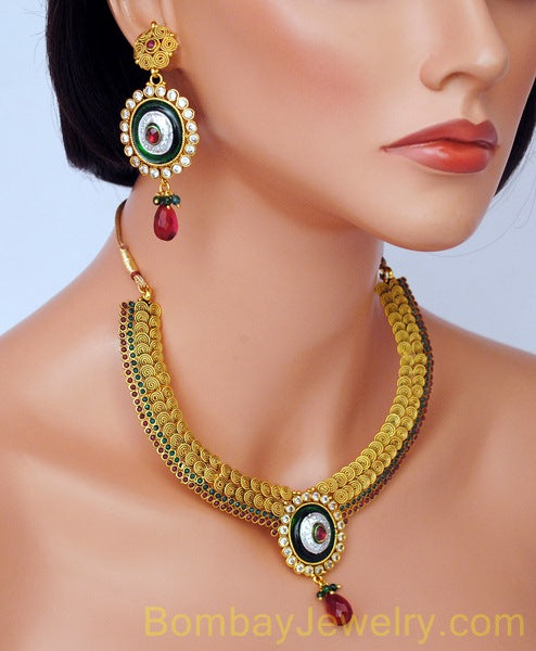 goldplated marron, green and blue polki set